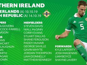 北爱尔兰大名单:史蒂文-戴维斯和埃文斯领衔